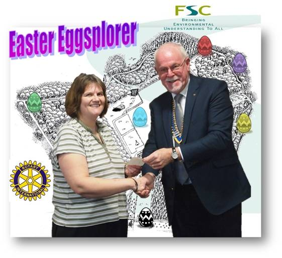 President Peckham presenting eggsact sponsorship to Jackie Rham, head of the Amersham Field Centre at Mop End