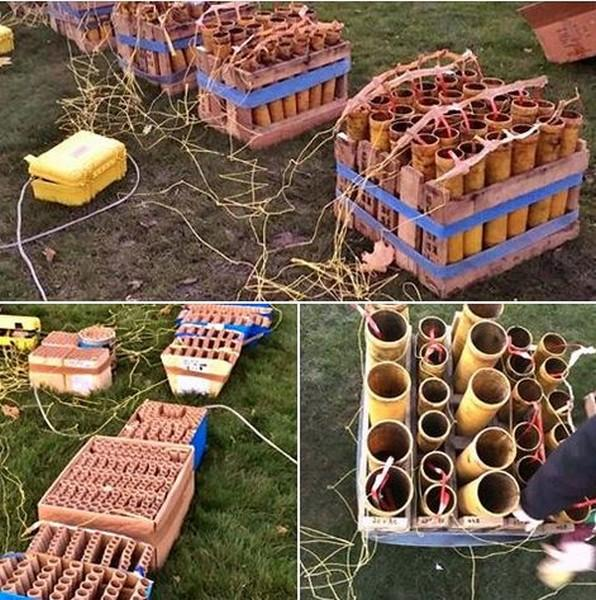 Some of the fireworks used in the display that lasted twenty minutes.