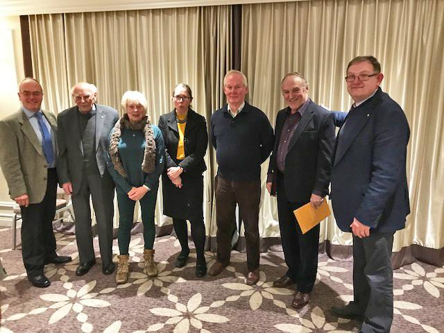 A big welcome to (From Left to Right) President Richard Leworthy, Gwilym Salmon, Jennifer Salmon, Kathryn Lander, David Randon, Peter Gilchrist and President Richard Cussell.