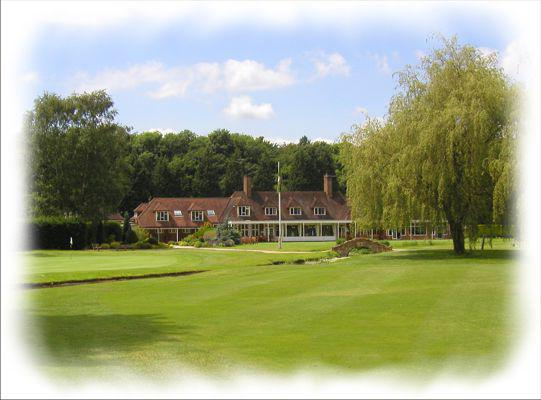 The eighteenth green and clubhouse at Gerrards Cross Golf Club.