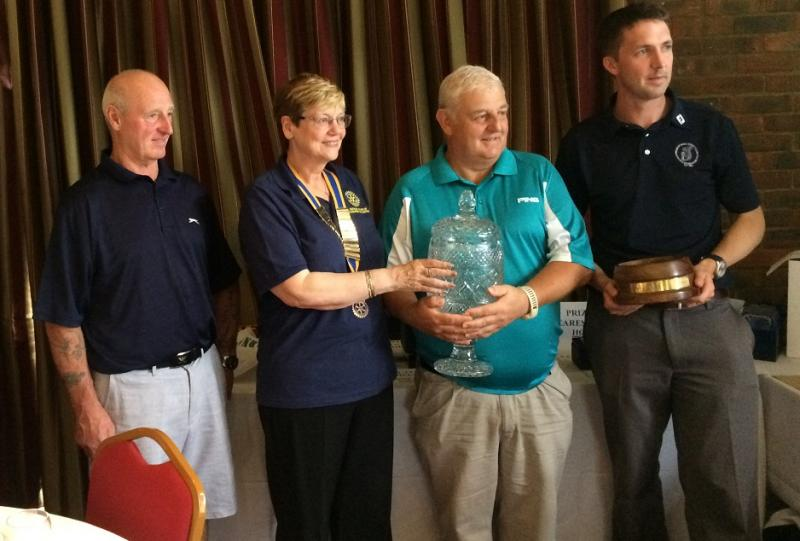 Club President Joan Greening with worthy first-time entrant winners Bushey Hall Ramblers