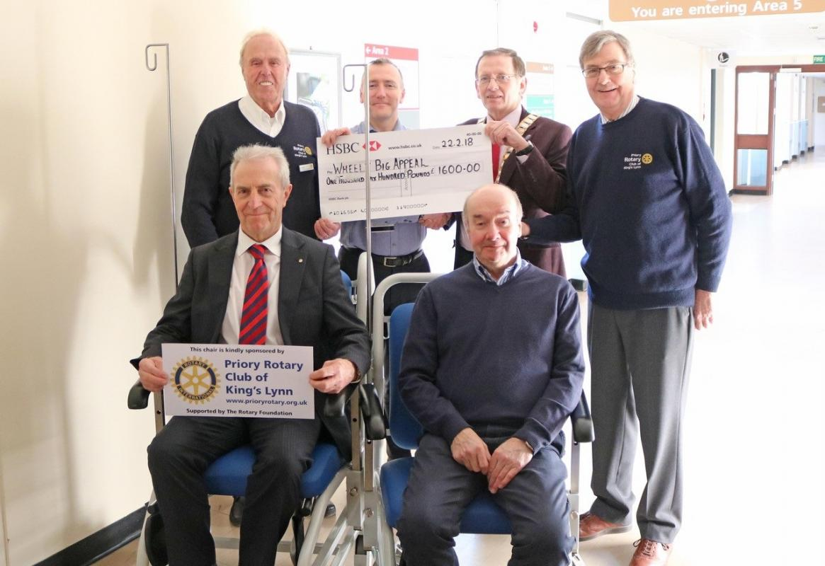 President Ken Banks with Priory members David Mills, Peter Tasker Derek Stringer and Robert Jones present the cheque for £1600 to Laurence Morlaas Hospital Fundraising Executive