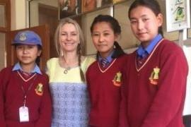 Supporting Himalayan Children - Ladakhi school children with charity founder, Gail McCallister