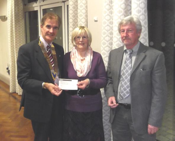Holyhead Cancer Support Group - Heather Abbott and Gareth Rowlands with President Trevor