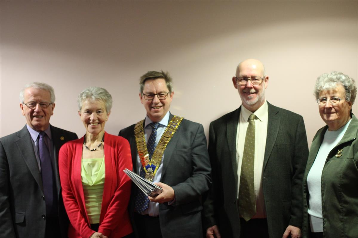 Hazel Murgatroyd, Roger Teal and Sandra Dixeywith Rtn Neil Crossley on the left and President David Roper centre.