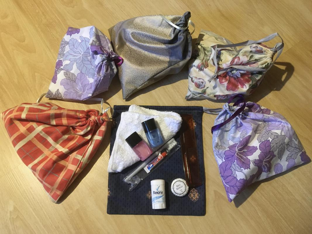 One of our toiletry bags with its contents