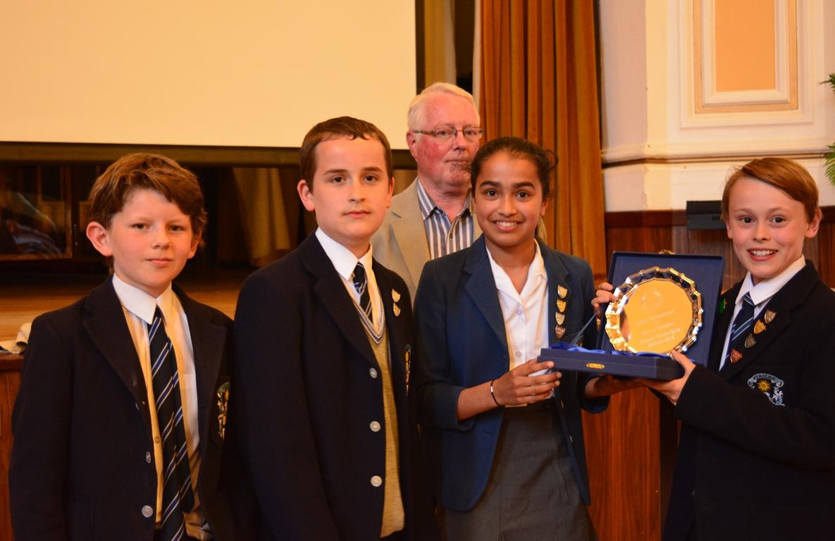 West of Scotland Final of Primary Schools Quiz - Hutcheson's Grammar team with their trophy - District Governor Elect William Campbell in the background.