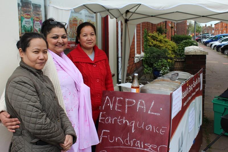 Saj raises money for Nepal through food - Saj (centre) and her team