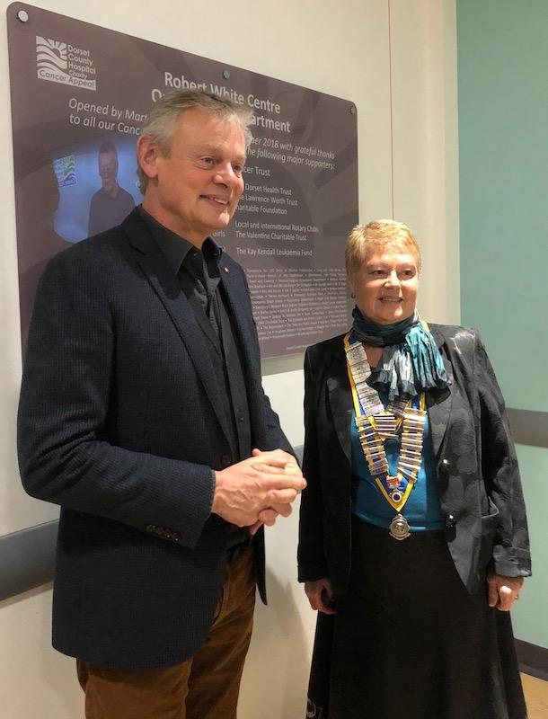 President Chrissie Bailey with Martin Clunes at the new DCH Cancer Unit