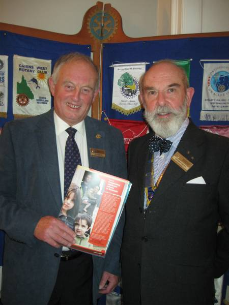 Hastings Rotarian Ray Dixon left with Club President Brion Purdey