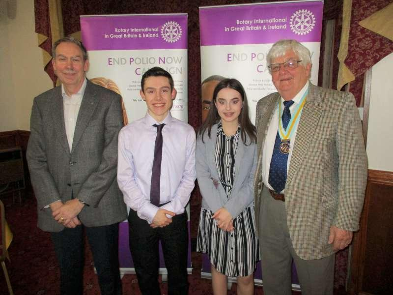 Congratulations to Philip Davies and Emily Jolly, shown here with President John Benbow and AG Derek LLoyd, who represented the club at the Pembrokeshire Area heat of the Young Musician Competition at Nant y Ffin Motel.