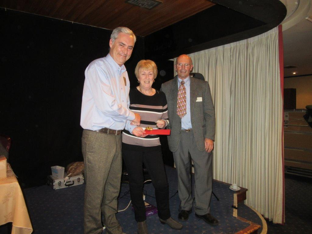 Charity Bingo Night - Winners of the First & Second Prize presented by President Gary Hook (left) and Community Chair Stuart Dawson (right)