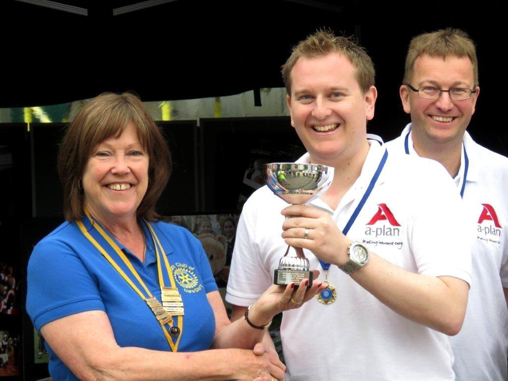 2016 Newbury Boules in the Square - A-Plan team captain lifting the Trophy
