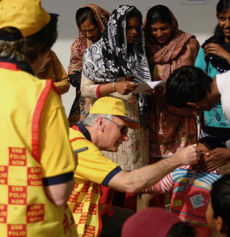 Clive giving the children their vaccine in Northern India