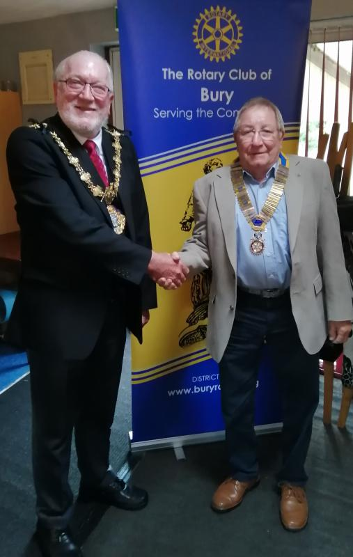 Bury Mayor (Cllr trevor Holt)being welcomed by Club President  John Cooper