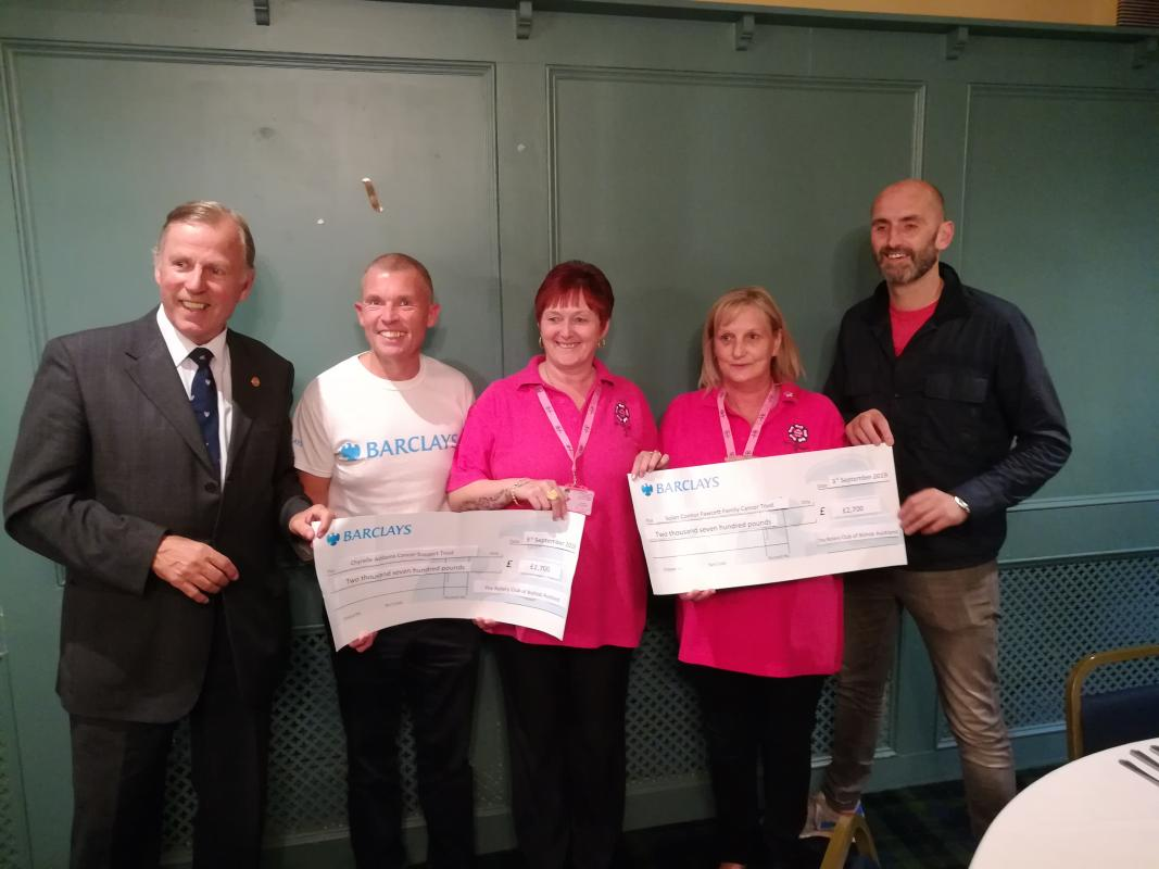 Bishop Auckland Rotary Club Eleventh Annual Golf Day 2019 raise £5400 for local charities! - Rotarian Bill Robson ( Immediate Past President ) , Michael Poole ( from Barclays ) , Trish Greensmith & Allison Danby ( from The Chyrelle Adams Cancer Trust ) and Mark Solan ( from The Solan Connor Fawcett Family Trust )