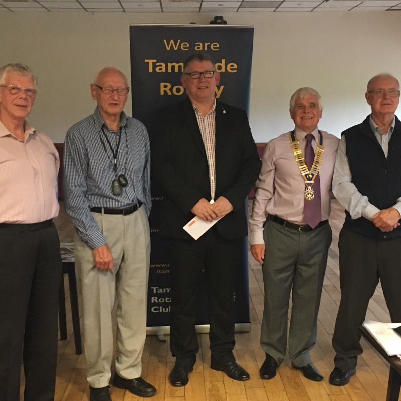 Handout Donations to Tameside Local Organisations  - Members of Tameside Armed Services receiving cheque from Pres. Andy Williams