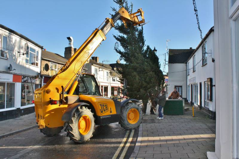 2011 Xmas Tree Erection - About to insert the tree into the concrete block