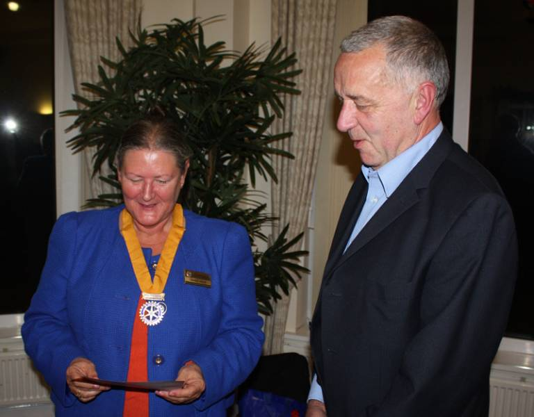 New Rotarian Paul Bowler inducted - President Elect Janice and Paul.