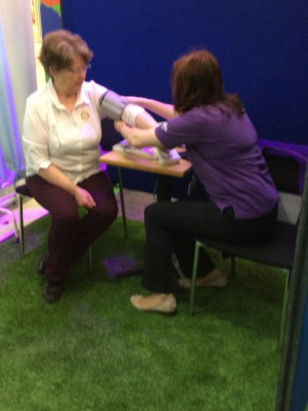 Know Your Blood Pressure event  - President Ros having her Blood Pressure checked by a member of the Stroke Association