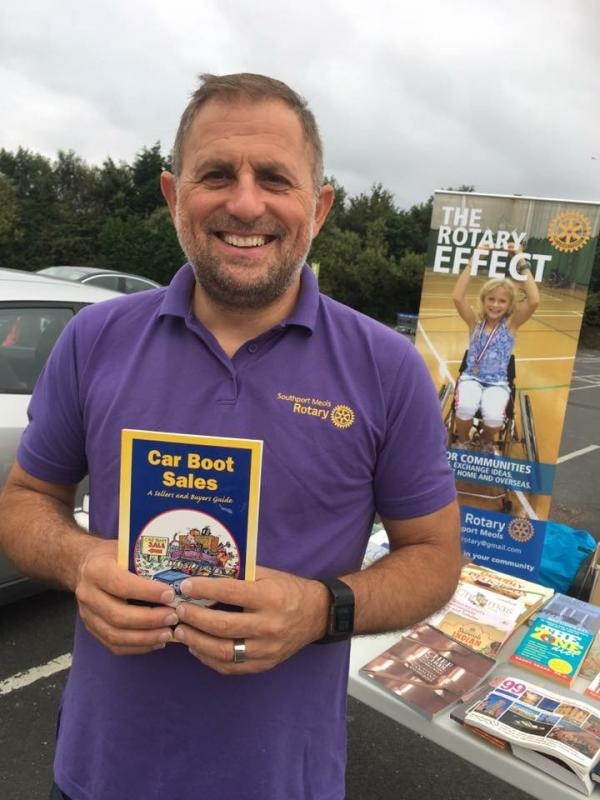 Book sale (The Never Ending Story) - President Ged raising funds at a recent book sale event