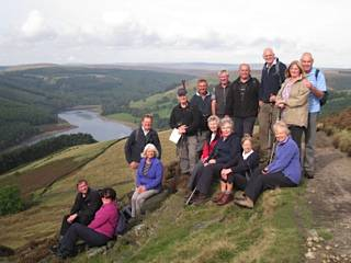 Derbyshire Trip 2014 - The walkers on White Tor overlooking Ladybower Reservoir - a glorious walk with excellent views all day and lovely weather