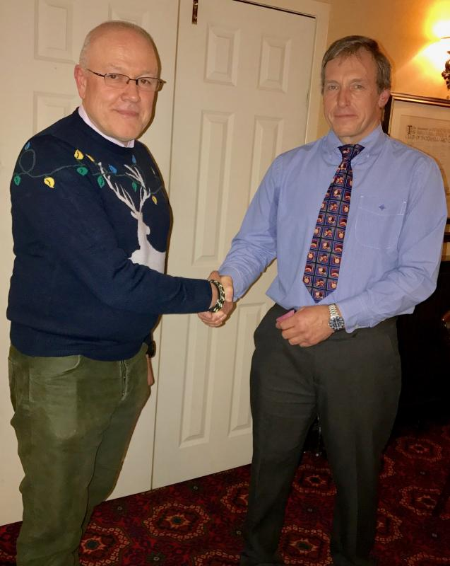 President Trevor Baxter welcomes new member Michael Haycock