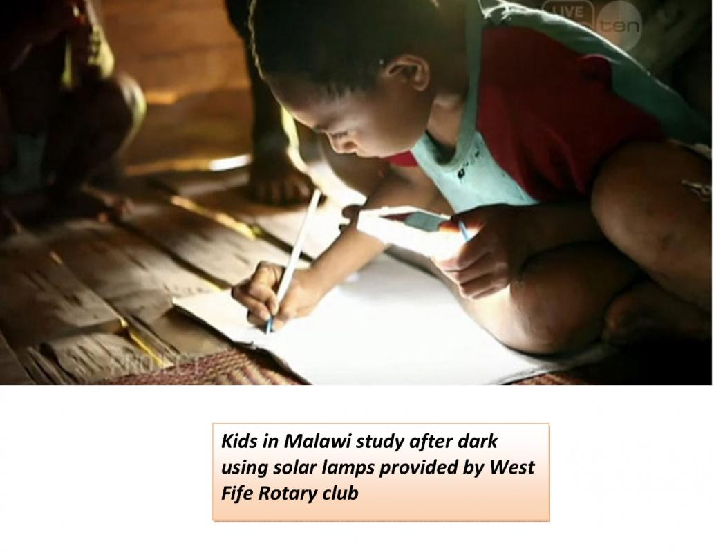 Final Report to District on Malawi  - Children in Malawi study after dark using solar lights supplied by the Rotary Club of West Fife
