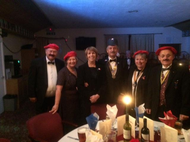 Runcorn Rotarians entering into the spirit of Hello Hello at the Widnes Charter night - President Ray & wife Shirley, Rtns Ken & Karen Tonge and Eddie & Ros Gregory entering into the spirit of the night