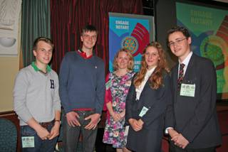 PeaceJam pupils from Norwich School. Left to right Tom Farrow, Jack Long-Martinez, Cathryn Barber, Ellie Robinson and James Walker