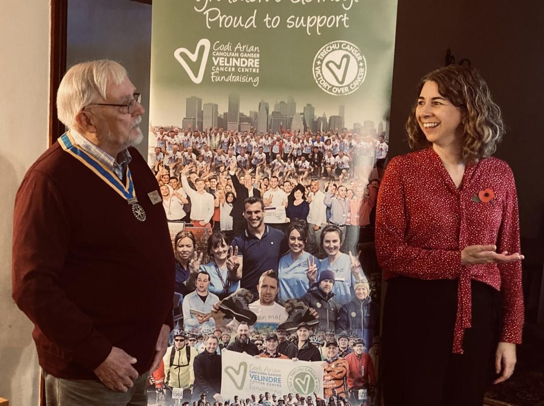 Dr Annabel Borley from Velindre Cancer Centre receiving a cheque for £9860 from Terry Ing President of Rotary Monmouth, Nov 2019