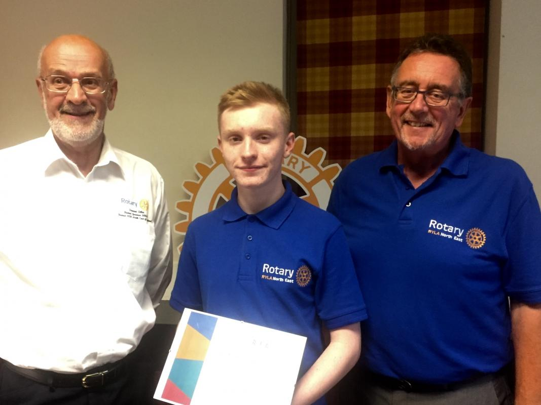 RYLA Presentation Evening - Lucas Corrigan, sponsored by Washington Forge Rotary, receives his RYLA certificate from District Governor Stewart Atkin and RYLA Co-ordinator Terry Long.