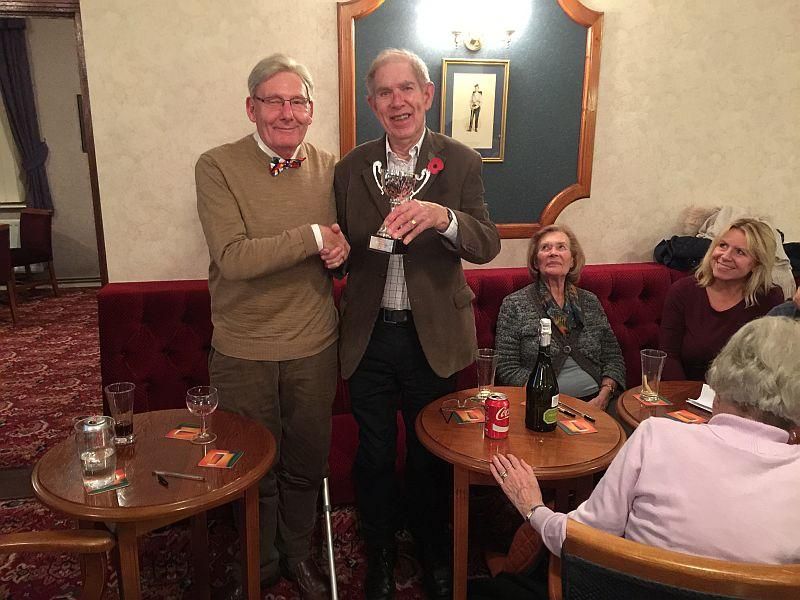 Quiz Night November 4th 2015 - David Wheeler and Bob Heybourn together with the winners Trophy