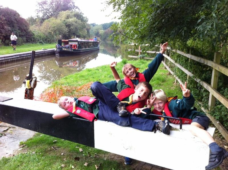 2nd Newbury Cub Scouts salute their fun day out on the Kennet and Avon Canal
