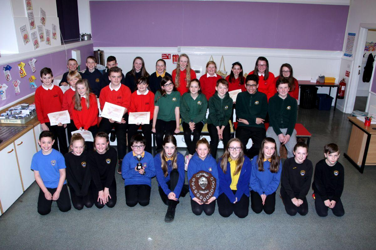 Photo shows all the team participants in Rotary Primary School Quiz.
