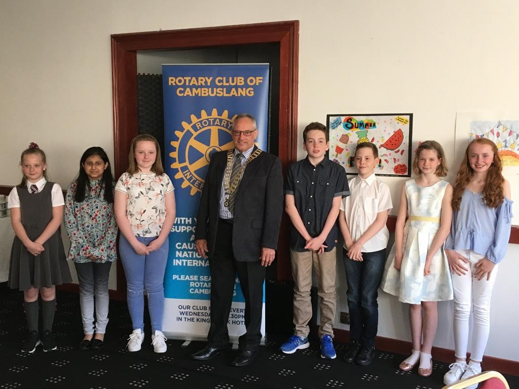 10th May 2017 - Primary School Art Competition: Prize Winners Night - President Crombie with all the winners.