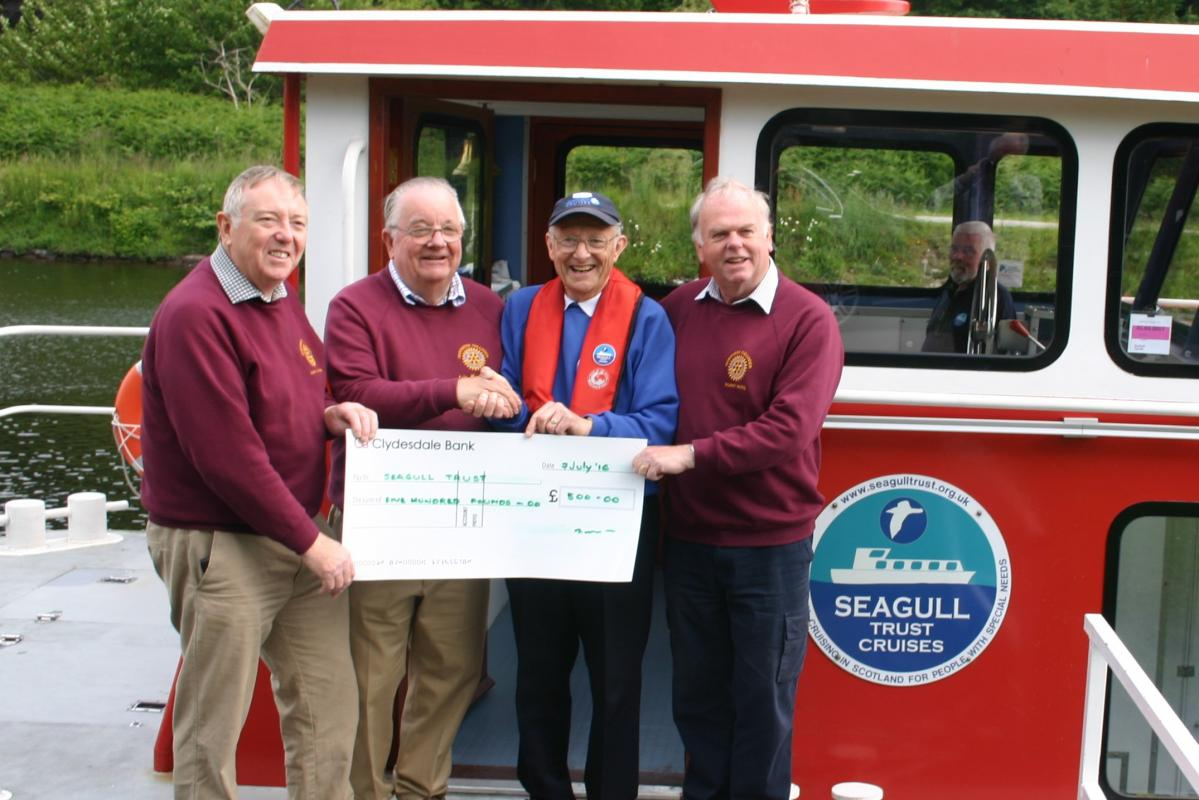 Presentation of £500 cheque to John Gordon of the Seagull Trust