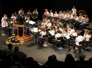 The IW Youth Concert Band with leader Martin Stroud at the Medina Theatre, Newport