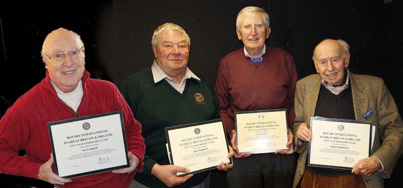 200 Years of Membership - Four Rotarians each with 50 years service