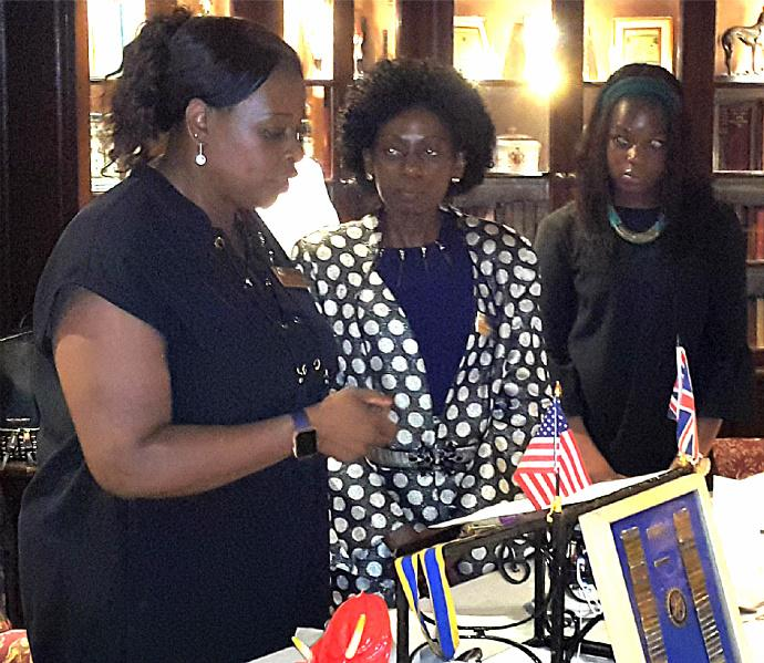 Presidential Handover Rotary Year 2017-18 - Outgoing Club President Angela Campbell inducting Incoming President Dr Josephine Ojiambo for the Rotary Year 2017-18.
