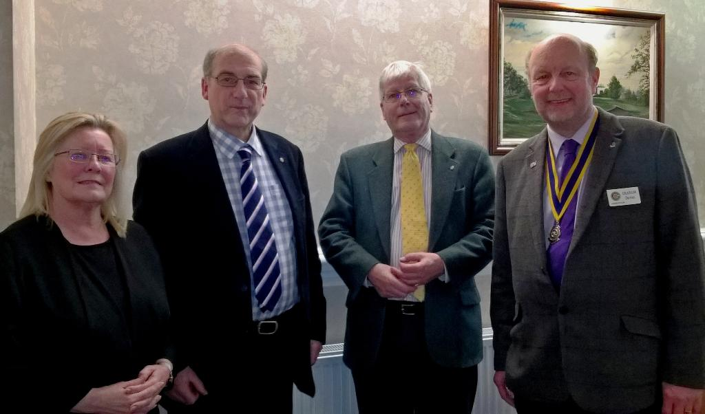 Newest members John Sharples and Peter Nuttall  flanked by Lynn Rhodes-Holme, Membership Chair and Graham Davies, President