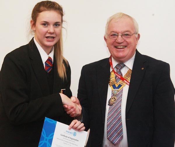 President Roy presents Certificate of Organisation to Aliyah Rayner (Cardinal Allen Interact Club)