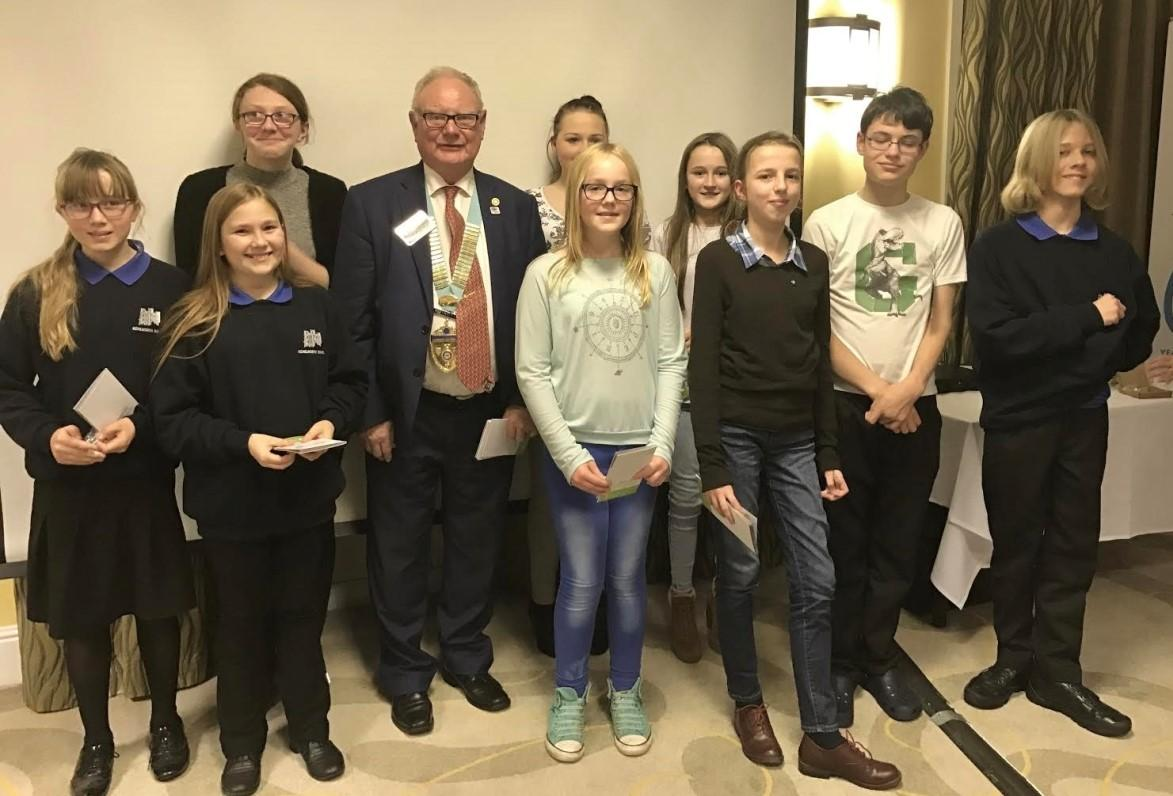 The Interact Club ('junior Rotary') of Kenilworth receive their Club Charter from District Governor, Peter Roberts
