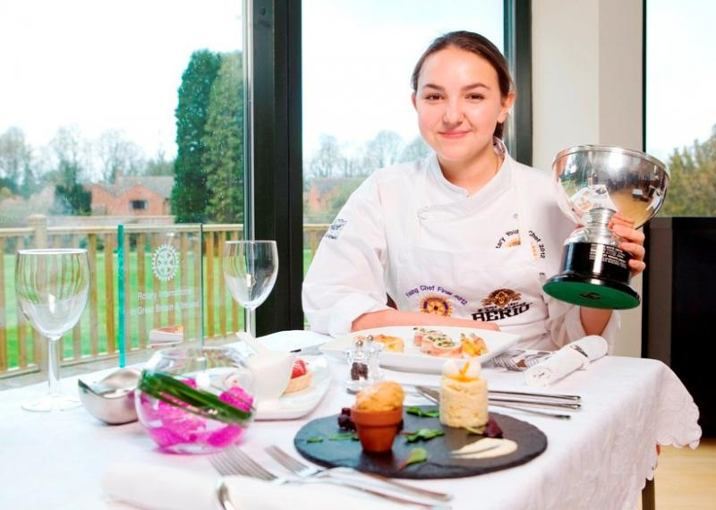Fleet Young Chef wins Rotary National competition in Abingdon - 21 April 2012 - Isabelle Chavez, winner of Young Chef 2012 with her prizes and that winning meal