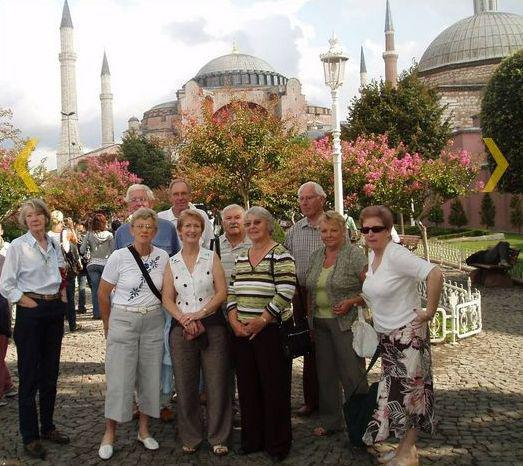 Istanbul Cultural Visit - Some members of the party with the Blue Mosque in the background.