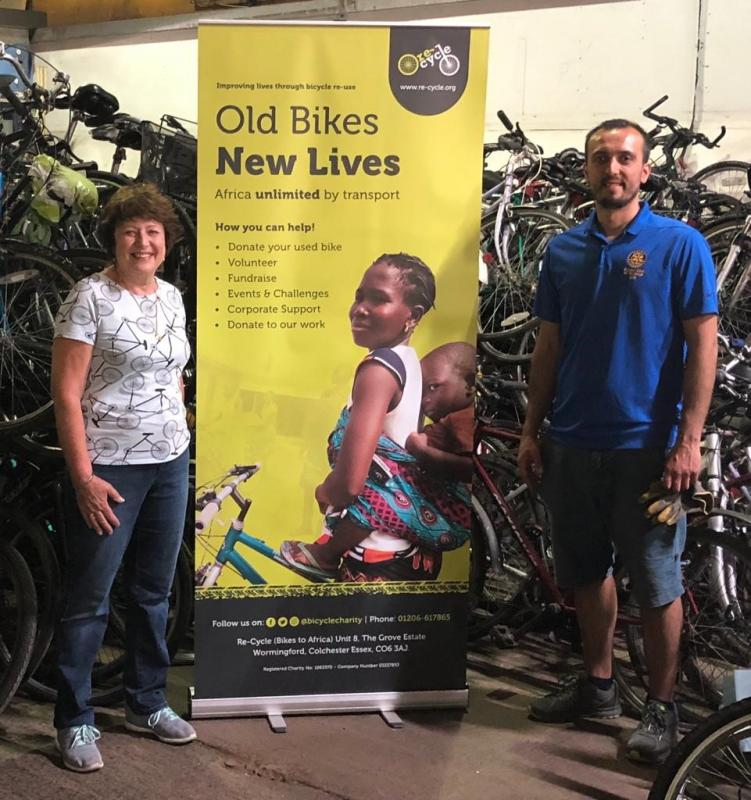 President Jackie Wellman and Rotarian Sertac Yilmaz with some of the recycled bikes