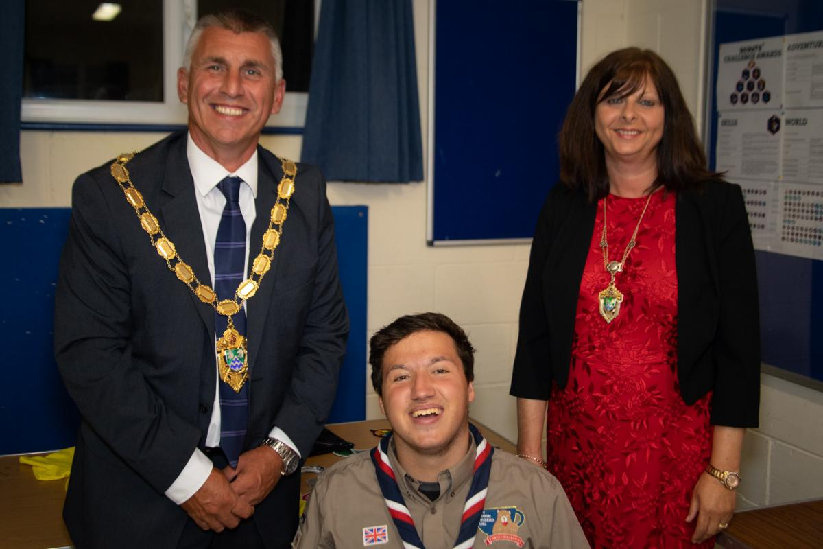 Dominic Dawson with the Mayor and Mayoress