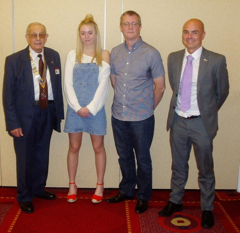 Speaker Jessica McLelland.   Host John McLoughlin - Jessica with President Tony, father Ian and teacher Mark