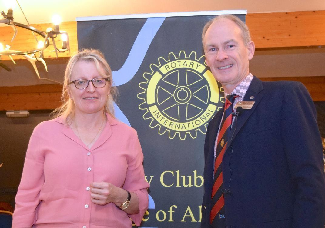 Following her formal induction, Dunblane solicitor Jill Scott is welcomed as a new member of the Bridge of Allan and Dunblane Rotary Club by President Andrew Hilley