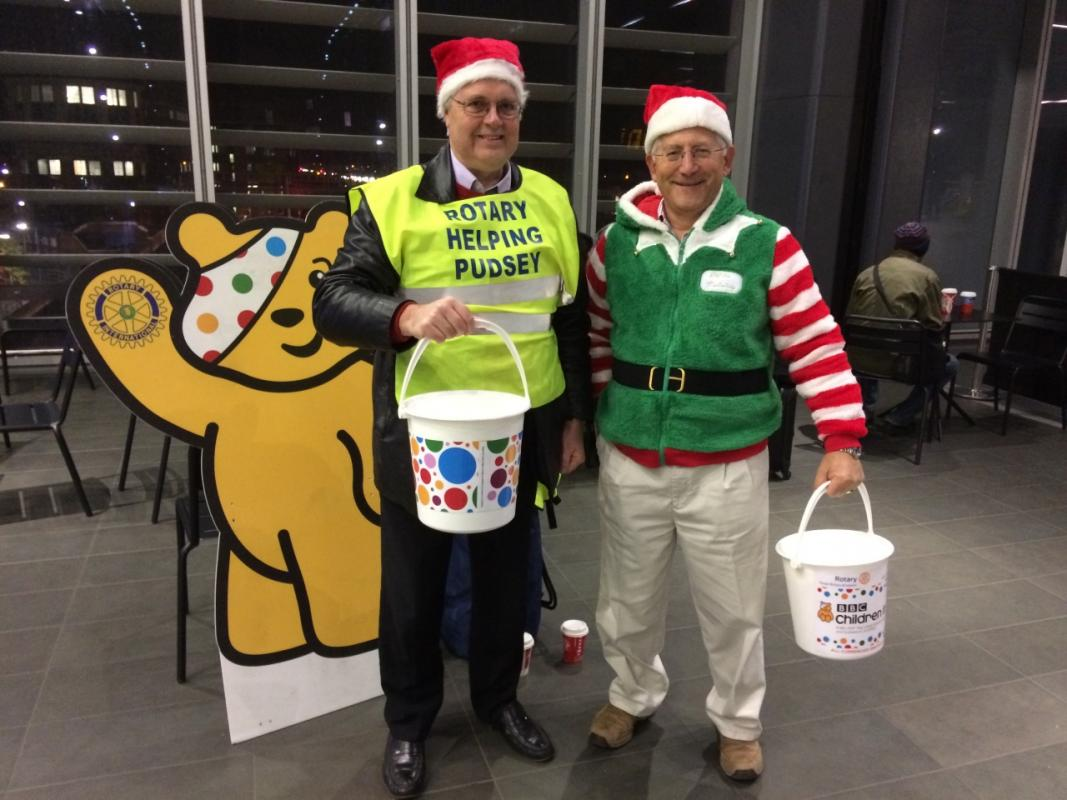 Tom & Jim at Reading Station Collecting for Children in Need